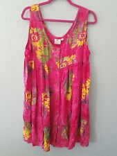 Pinneapple Moon Hawaiian Pink Print Flower Dress Sleeveless One Size