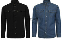 Mens Western Style Press Studs Poppers Pockets Denim Shirt Stonewash Black M-3XL