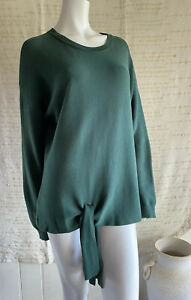 Trenery Pima Cotton Tie Front Knit Top Size Xl 16 Forest Green Long Sleeve