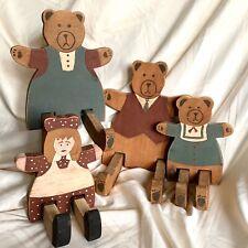 Vintage Goldilocks & the Three Bears Hand Painted Wood Bears Folk Art Primitive