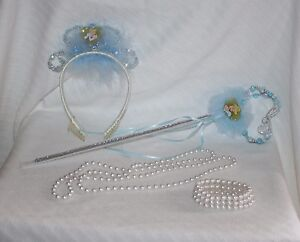 The Disney Store Cinderella 4pc Costume Accessory Bracelet Tiara Necklace Wand