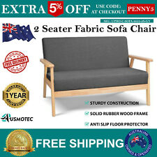 12cm Thick Cushioned Seat 2 Seater Fabric Couch Sofa Lounge Wooden Dining Chair