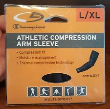 New! Champion Athletic Compression Arm Sleeve Size L/Xl In Black