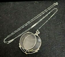 Antique Ladies Chatelaine Chain w/ Foldable 10k Gold Filled Eyeglasses In Case