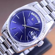 VINTAGE BULOVA SUPER SEVILLE AUTOMATIC BLUE DIAL DAY&DATE DRESS MEN'S WATCH