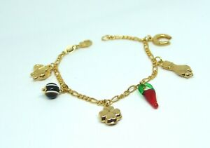 """Good Luck 14K Gold Plated Bracelet with 6 Lucky Charms 7.5"""" inches"""