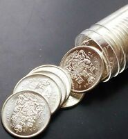 Roll of 20 BRILLIANT UNC 1964 Canada Silver 50 Cents Half Dollars MS64+ w/CAMEO