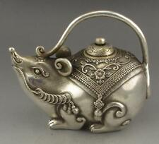 Chinese Antiques Tibet silver handmade coin mouse statue teapot wine pot flagon