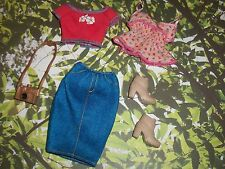 Curvy Barbie Doll Clothes Denim Skirt Pink Tank Top Coral Crop Top Tan Boots Lot