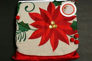 48 inch Poinsettia Christmas Tree Skirt 48 in. Merry Brite Embroidered With Gems