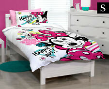 DISNEY MINNIE SINGLE BED QUILT COVER SET - WHITE & PINK
