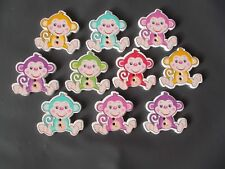 10 WOOD SEWING BUTTON MONKEY ANIMAL SHAPE  ASSORTED   CRAFTS/SCRAP BOOKING