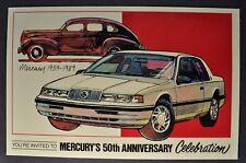 1989 Mercury Cougar Invitation Sales Brochure Card Excellent Original 89