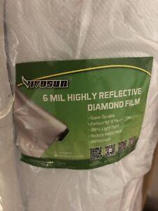 4'x 100' 6Mil Mylar Film Roll Diamond Film Foil Roll Highly Reflective Grow Room