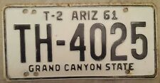 1961 61 ARIZONA AZ GRAND CANYON STATE LICENSE PLATE TAG T-2 TH-4025