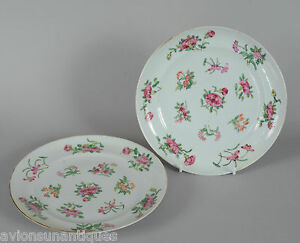 Two 19C Antique Chinese Porcelain Flower Famille Rose Plates