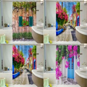 Modern Bathroom Shower Curtain Garden Flowers Printed Waterproof with 12 Hooks
