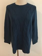Ann Taylor Crewneck Cable Knit Sweater Peacock Blue Size L NWT MSRP $69.99