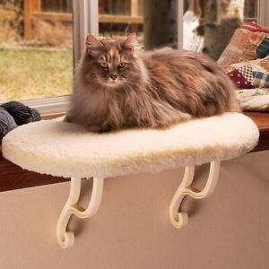 "K&H PET PRODUCTS  KITTY SILL CAT WINDOW SILL BED BEIGE 14"" X 24"" MACHINE WASH"