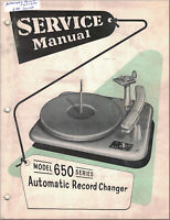 AUTOMATIC RECORD CHANGER Service Manual 650 SERIES