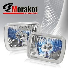 Cut Headlight Halo Clear Lens+H4 Bulb 7x6 inch Square H6054 H6052 H6014 Diamond