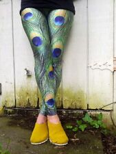 peacock feather unisex stretchy yoga dance festival rave workout gym leggings