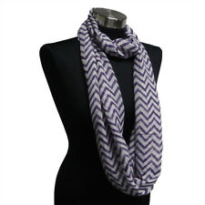 Chevron Sheer Infinity Scarf Purple/White Contrasting Colors Gift US Seller