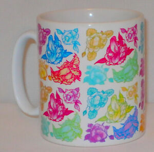 Rainbow Floral Penis Pattern Mug Funny Willy Girlfriend Boyfriend Lover Gift