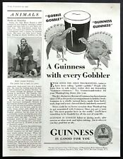 """1937 Guinness Beer Glass & Turkeys art """"With Every Gobbler"""" vintage print ad"""