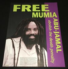 FREE MUMIA ABU-JAMAL (1995) ANTI-DEATH PENALTY BLACK PANTHER PROTEST POSTER +COA