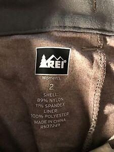 "R.E.I. women's skort shell nylon spandex liner polyester zip pockets waist 27"" b"