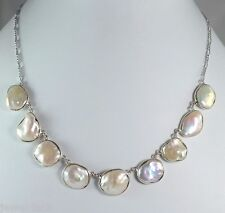 Fresh Water Coin Pearl 925 Solid Sterling Silver Handmade Choker Necklace