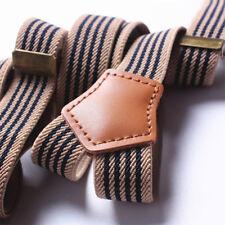 New Jeans Striped Retro 3 Clip Suspenders For Pants Unisex Adjustable Braces