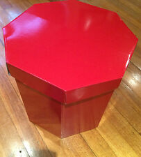 hat box tall large strong gloss red storage cake box with acid free tissue paper