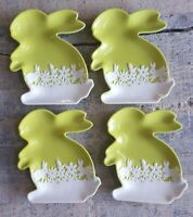 Set of 4 EASTER BUNNY Ceramic Green Decorative Little Rabbit Shaped Plates Small