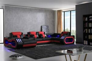 Galaxy Leather Sectional With Chaise