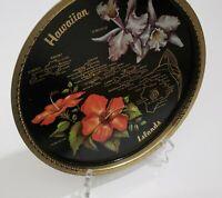 "Vtg Hawaiian Island Round Tray Metal 11"" Orchid Hibiscus Hawaii Souvenir Tiki"