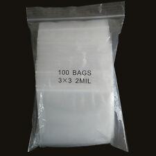 "100 3""x 3"" ZIPLOCK BAGS Clear 2MIL Small RECLOSABLE BAGS Plastic Baggies"
