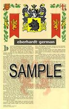 EBERHARDT Armorial Name History - Coat of Arms - Family Crest GIFT! 11x17