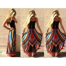 Sexy Thailand Women's Boho Waistband Skirts Geometric Printed Long Maxi Dress