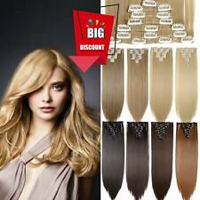 CLIP IN 18 clip 8 piece REMY Human Hair Extension Excellent Natural Glossy UK