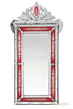 DUSX Vintage Venetian Antique Style Red & Clear Etched Decorative Wall Mirror