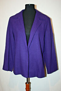 Coldwater Creek Sz 12P Women's Purple Textured Silk Knit Button Up Jacket Blazer