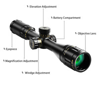 4-16x44 AOE Hunting Rifle Scope - Red And Green Light Illuminated MIL-DOT