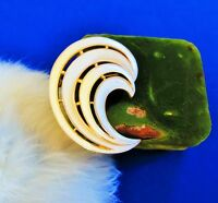Crown Trifari signed Gold plated white enamel Wave    brooch pin   tr