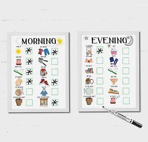 Kids, Morning routine, Evening routine, Daily Planner, PECS, SEN, ADD, Autism