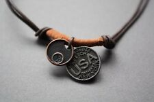 NEW Leather Hemp Metal Pendant Surfer Necklace Choker USA Coin Brown