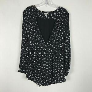 Ecote Romper Shorts Size M Black Floral Long Sleeve Deep V Neck Rayon Womens