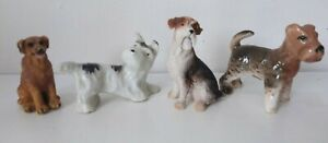 Vintage Bundle of 4 Small Dog Ornaments - Westie - Terrier Etc China & Resin