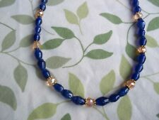 16 Inch Dk BLUE Glass and TAN Crystal Bead GOLD Spacer Necklace CHOKER G-52